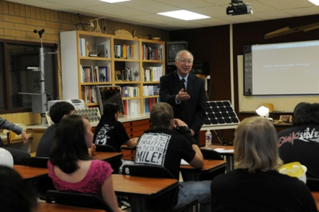Secretary Ken Salazar speaks with students about renewable energy at Milford High School in Utah.
