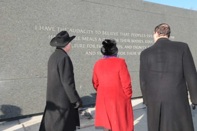 Secretary Salazar, Mayor Gray and Administrator Jackson tour the Martin Luther King, Jr. National Memorial site.