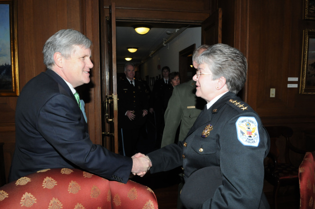 Deputy Secretary David Hayes welcomes Teresa Chambers back to her post as Chief of the National Park Police.