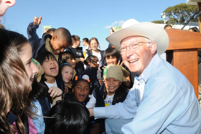 Secretary Salazar with fourth graders.