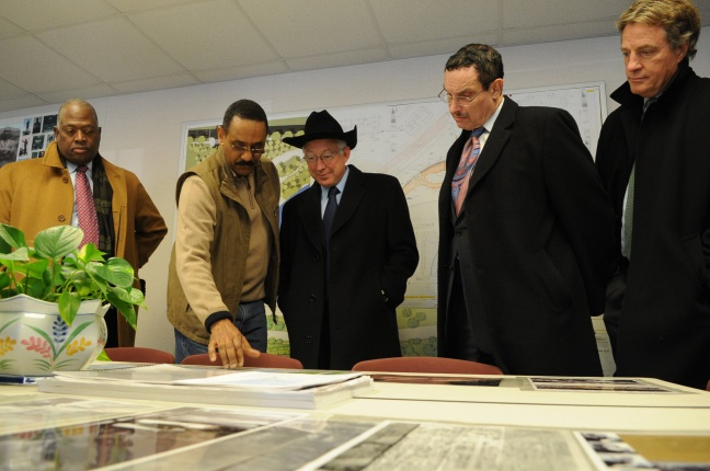 Harry E. Johnson Sr., President of the Martin Luther King, Jr. National Memorial Project Foundation, Secretary Salazar, Mayor Gray and Assistant Secretary of Fish and Wildlife Services Tom Strickland receive an inside tour of the memorial.