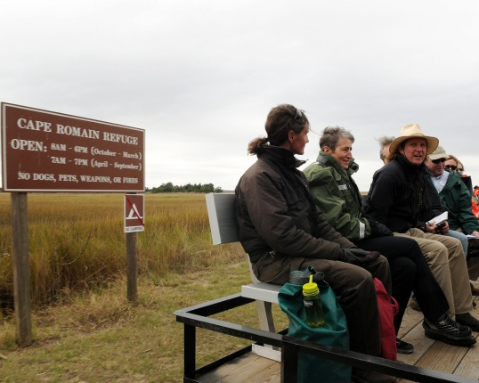 Secretary Jewell and other visitors traveling to the Wildlife Refuge
