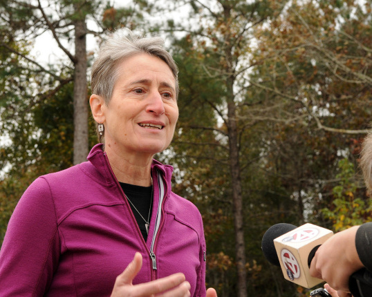 Secretary Jewell speaking with media