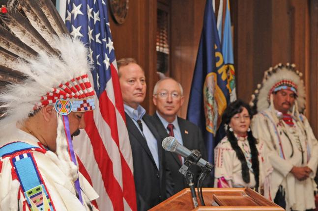 Crow Tribe Apsáalooke Nation Chairman Cedric Black Eagle speaking.