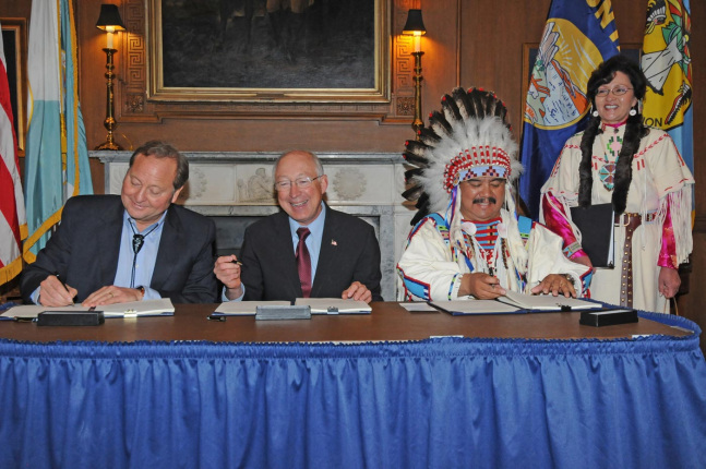Secretary Salazar, Crow Chairman Cedric Black Eagle and Montana Governor Brian Schweitzer signed the compact—marking a major milestone in implementing the Crow Tribal Water Rights Settlement Act of 2010.