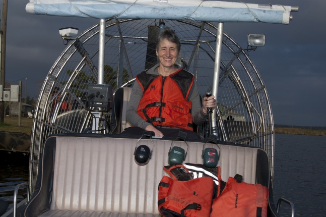 Secretary Jewell on an airboat