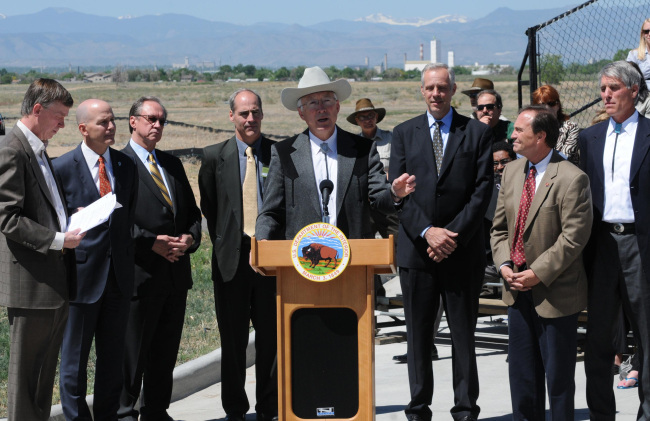 Secretary Salazar speaking at the Rocky Mountain Arsenal National Wildlife Refuge
