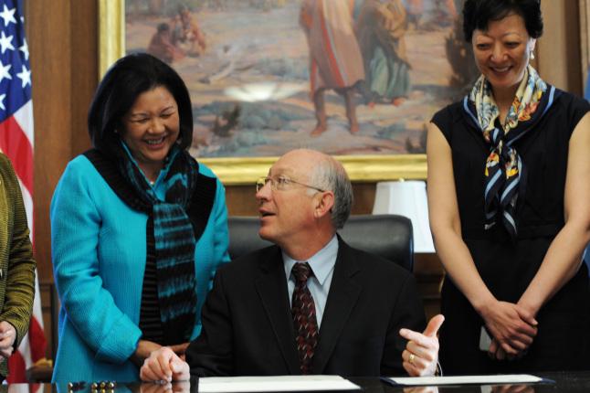 Irene Hirano Inouye, Secretary Ken Salazar and Rhea Suh