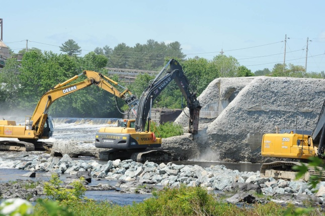 Construction on the Great Works Dam on the Penobscot River.