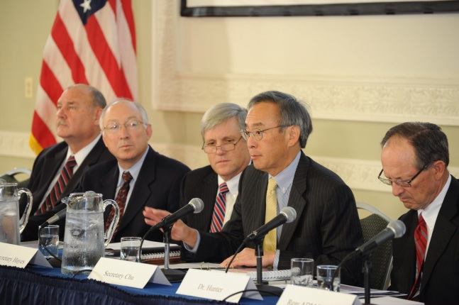 Officials from the Department of the Interior sitting on a panel.