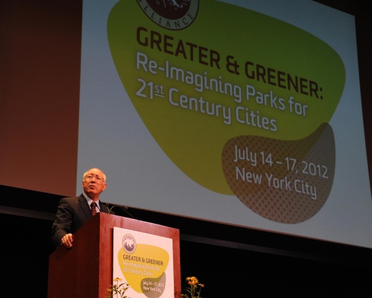 Secretary Salazar making remarks at the International Urban Parks Conference.