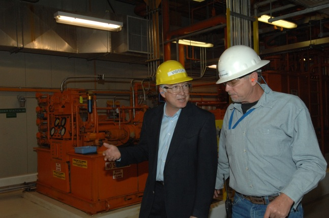 Secretary Ken Salazar and Garth Larsen the Plant Manager at Blundell Geothermal Plant take a tour and discuss geothermal energy.