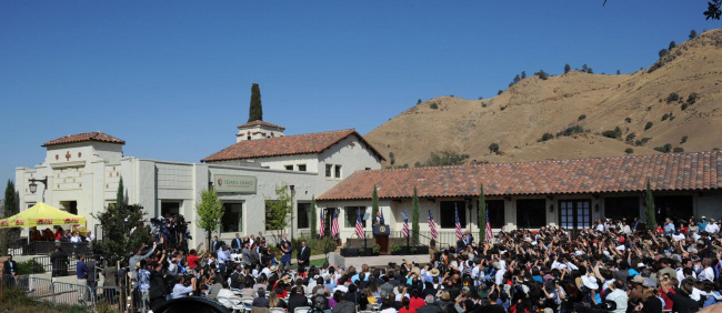 President Obama speaking at the establishment of the César E. Chávez National Monument
