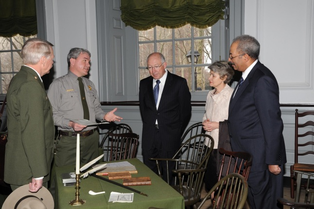 (left to right) NPS Director Jon Jarvis, NPS Ranger, Secretary Salazar, Director General of United Nations Educational, Scientific and Cultural Organization Irina Bokova, and Congressman Chaka Fattah share a discussion at Independence National Historic Pa
