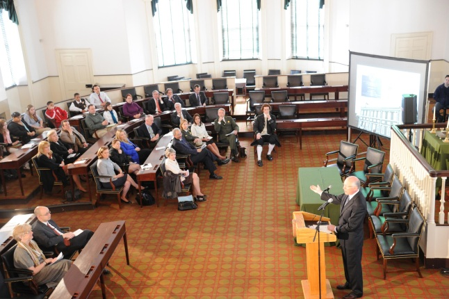 Secretary Salazar speaks at a town hall meeting in Independence Hall.