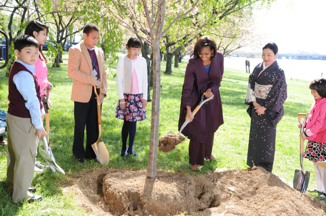 First Lady Michelle Obama at the 100th Anniversary of Cherry Blossom Tree Planting Ceremony.