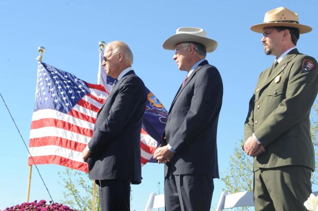 (L-R) Vice President Joe Biden, Secretary Salazar and Superintendent of the Flight 93 National Memorial Jeff Reinbold at the Flight 93 Memorial.
