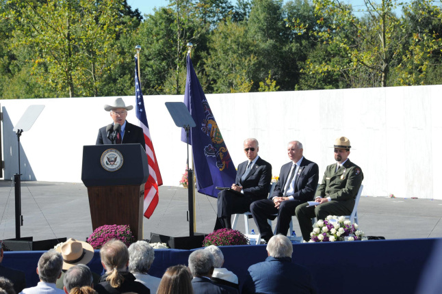 Secretary Salazar delivers the keynote remarks at the annual September 11th observance at the Flight 93 National Memorial in Shanksville, PA.