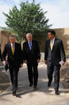 Secretary Salazar walks with Senator Harry Reid and Governor Brian Sandoval