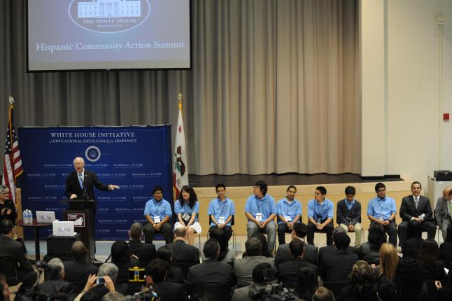 Secretary Salazar speaking at the White House Hispanic community action summit