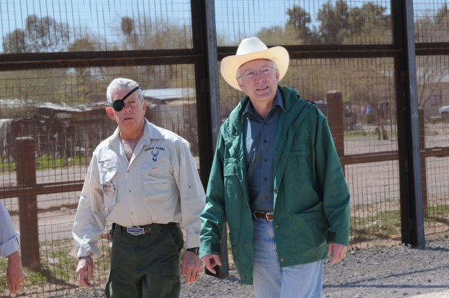 Secretary of the Interior Ken Salazar meets with Robert Eggle, father of Kris Eggle, a park ranger who was killed in the line of duty.