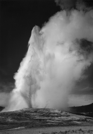 Old Faithful Geyser, Yellowstone National Park Wyoming Ansel Adams National Archives no. 79-AAT-4