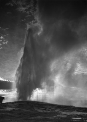 Old Faithful Geyser, Yellowstone National Park Wyoming Ansel Adams National Archives no. 79-AAT-22