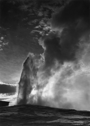 Old Faithful Geyser, Yellowstone National Park Wyoming Ansel Adams National Archives no. 79-AAT-23