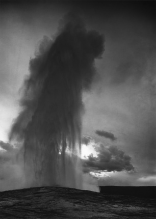 Old Faithful Geyser, Yellowstone National Park Wyoming Ansel Adams National Archives no. 79-AAT-24