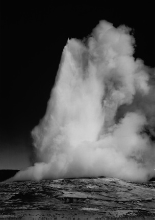 Old Faithful Geyser, Yellowstone National Park Wyoming Ansel Adams National Archives no. 79-AAT-27