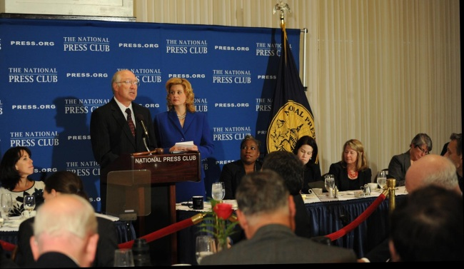 Secretary Salazar making remarks at the National Press Club.