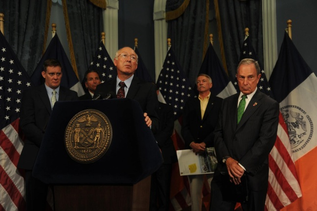 Secretary Salazar making remarks before signing a cooperative management agreement on Jamaica Bay with Mayor Bloomberg.