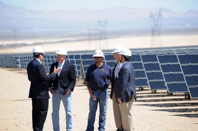 Secretary Salazar tours Enbridge Silver State North solar project.