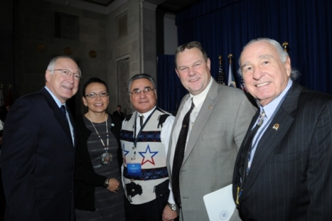 Ken Salazar, Secretary of the Department of the Interior; Jodi A. Gillette, Associate Director, White House Office of Public Engagement & Deputy Associate Director of the Office of Intergovernmental Affairs; Jefferson Keel, Lt. Governor of the Chickasaw N
