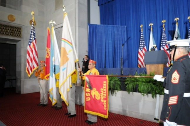 Navajo Code Talkers Color Guard posting flags.
