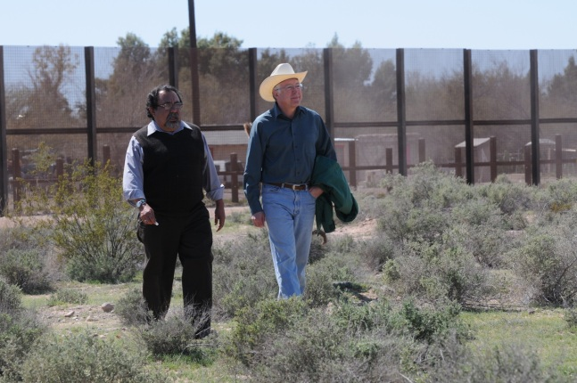 Secretary of the Interior Ken Salazar discusses border security and conservation with Arizona Representative Raul Grijalva, (Dist. 7) at Organ Pipe Cactus National Monument.
