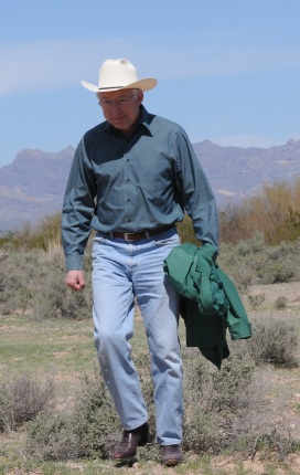 Secretary of the Interior Ken Salazar observes conservation conditions along the US/Mexico border at Organ Pipe Cactus National Monument.