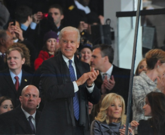Vice President Joe Biden Applauds during the inaugural parade.