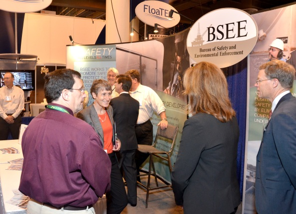 Secretary Jewell at the BSEE booth at the OTC