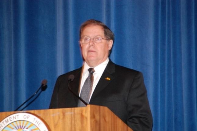 GSA's William Webster speaking at podium.