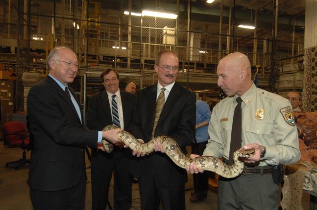 Secretary Salazar and FWS Director Sam Hamilton help Supervisory Wildlife Inspector Robert Onda handle a big Boa Constrictor.