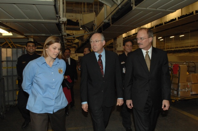 Secretary Salazar and FWS Director Hamilton get a tour of the inspection facility at the Port of New York, JFK International Airport from Kyla Hastie, Assistant Regional Director for External Affairs