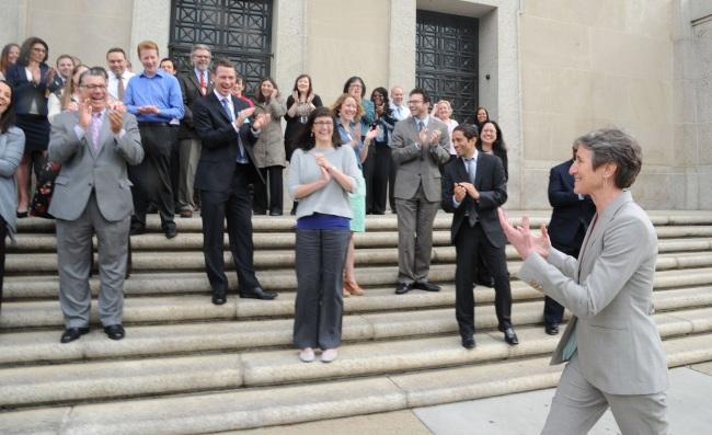 Secretary Jewell Greets Applauding Interior Employees