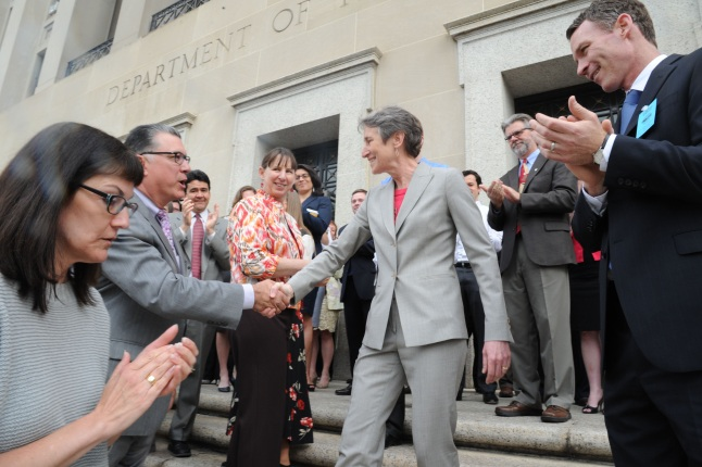 Secretary Jewell Shaking Hands at the Udall Building's C St entrance