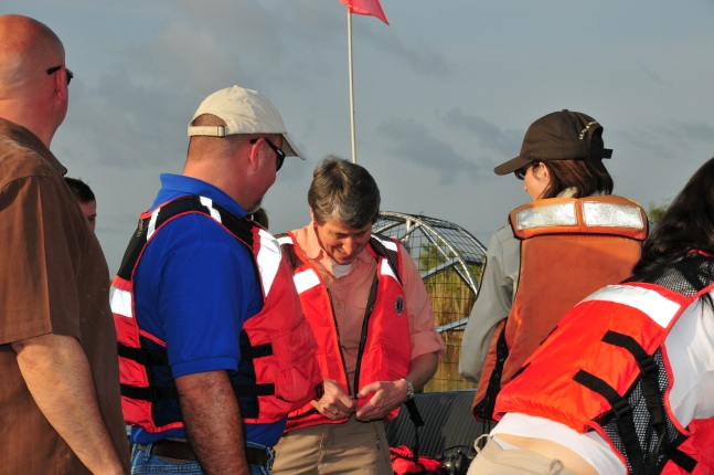 Jewell dons floatation vest in Everglades