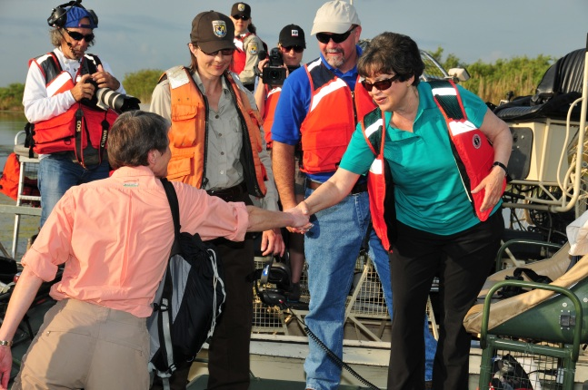 Secretary Jewell Greets FWS staff and others in the Everglades.