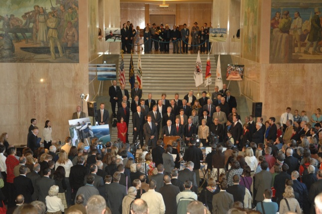 Secretary Salazar announced the framework for the Klamath restoration agreement in Oregon's Capitol Rotunda.