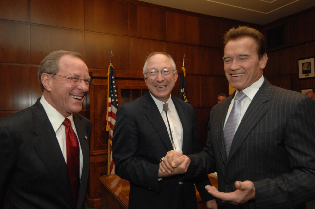Oregon Governor Ted Kulongoski, Secretary Salazar and California Governor Schwarzenegger.