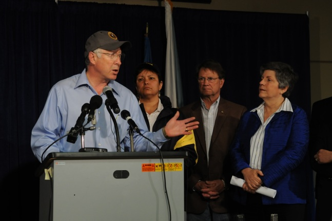 Secretary Salazar announces a full review of offshore oil drilling safety at a press conference in Robert La. Also pictured are EPA Administrator Lisa Jackson, La. Congressman Charlie Melancon and Department of Homeland Security Secretary Janet Napolitano