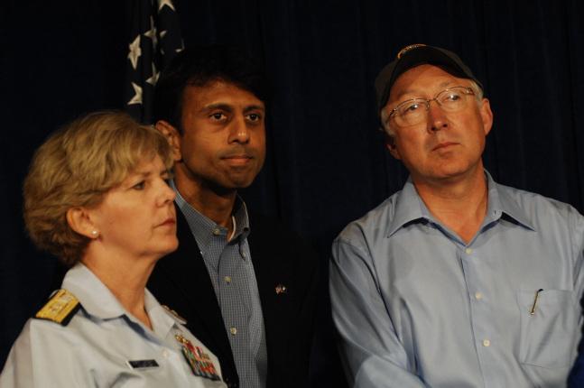 Commander 8th Coast Guard District Rear Admiral Mary Landry, Louisiana Governor Bobby Jindal and Interior Secretary Salazar